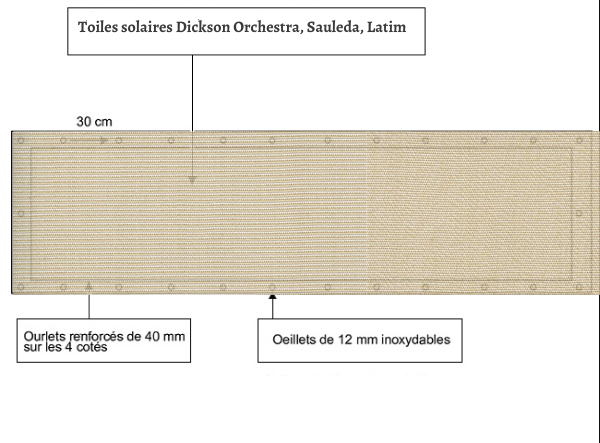 croquet brise vue Toile Sauleda 3607 DUNA R balcon et terasse