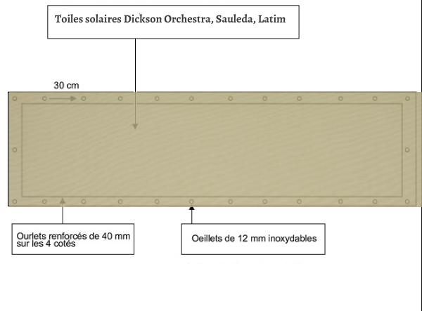 croquet brise vue Toile Dickson orchestra Absinthe 8600 balcon et terasse