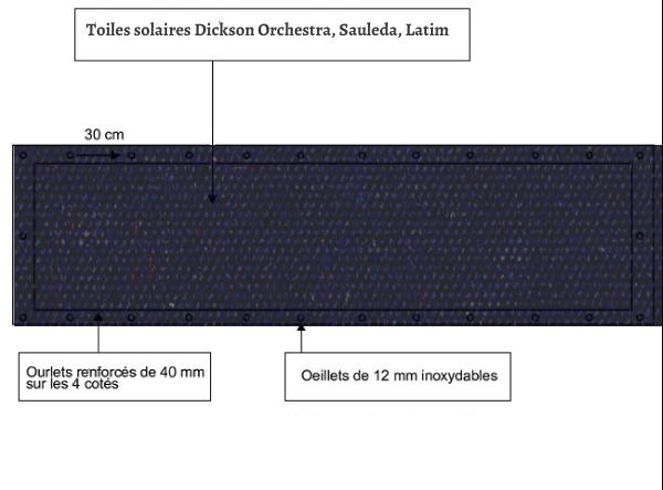 croquet brise vue Toile Latim LATIMACRYL A 118 BLEU ACIER balcon et terasse