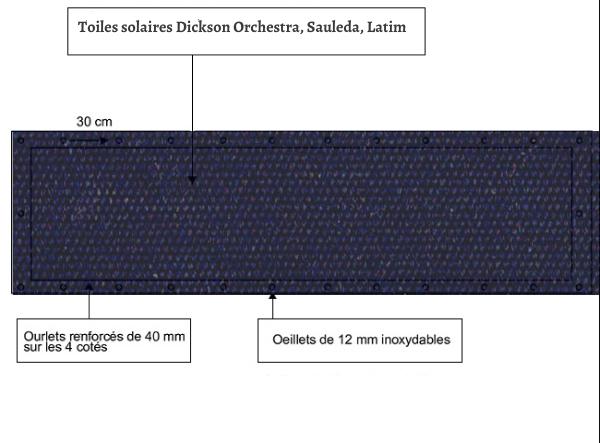 croquet brise vue Toile Latim LATIMACRYL A19 BLEU NAVY balcon et terasse