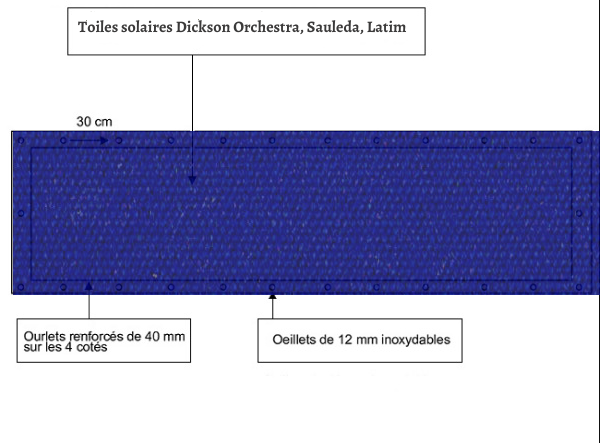 croquet brise vue Toile Latim LATIMACRYL A20 BLEU FONCE balcon et terasse